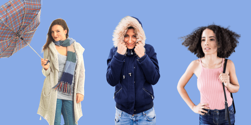 Three women in different clothing for a windy day