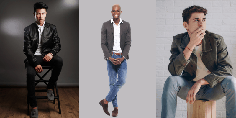 Three men in different date outfits—what to wear on a date to a brewery for men