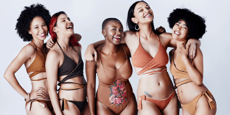 Group of five women in underwear—What Body Type Does a Cancer Man Like