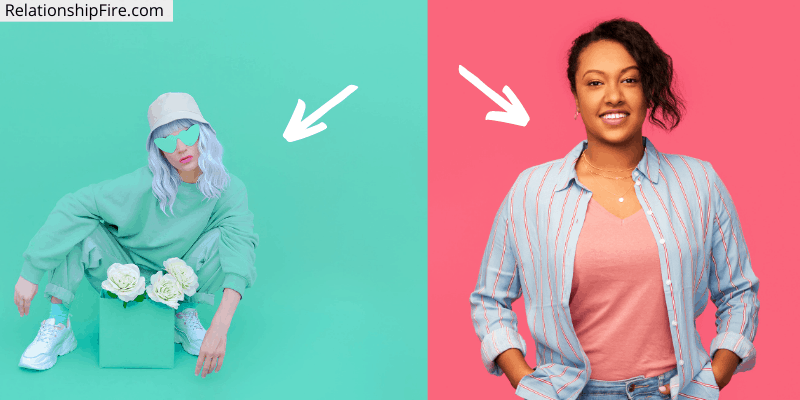 Two women. One in pink. One in green.