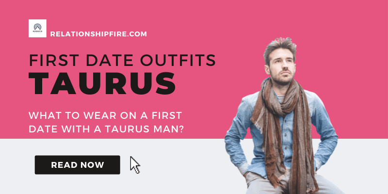 Man with Scarf against a purple and white background with the title of the article—What To Wear On a First Date With a Taurus Man