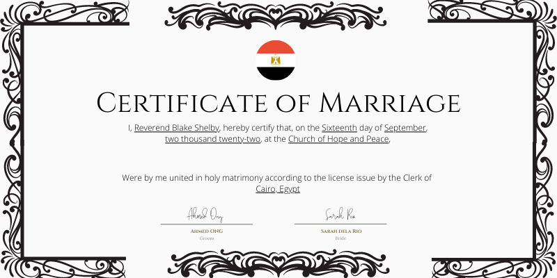 Fake Marriage Certificate Egypt